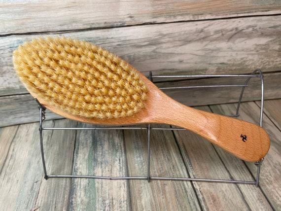 "USA MADE Natural BOAR 9.5"" Beechwood Curved Contoured Hair Bristle Soft Stiffness Styling Brush Hair Beard Wood Handle Dixie Cowboy"
