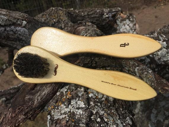 "World's Best Boar Hair & Horsehair MUSTACHE BRUSH Christmas Stocking Stuffer Men's Gift Natural 6"" Bristle USA Made Wood Dixie Cowboy tx74"