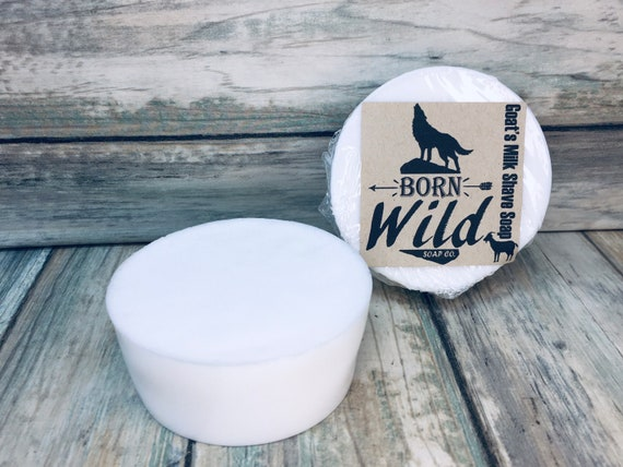 GOAT'S MILK Shaving Soap Puck Born Wild Soap Co. Lather Brush Bowl Cup All Natural Organic Ingredients 4oz Dixie Cowboy