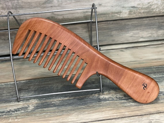 "USA Made 7"" Whole Piece SANDALWOOD Wood Styling Handle WIDE Tooth Detangler Anti Static Wet Dry Hair Comb Dixie Cowboy D10"