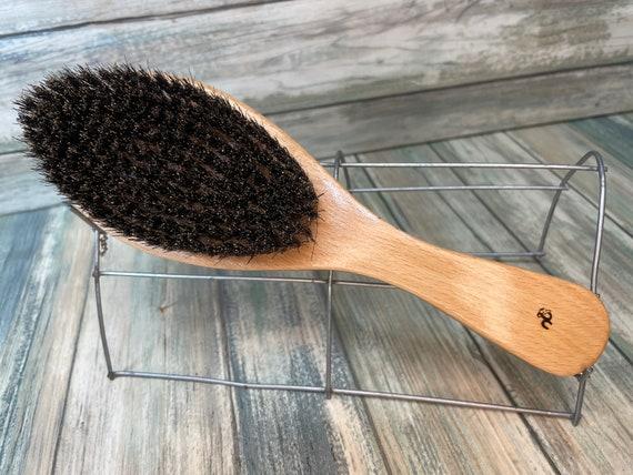 "USA MADE Natural BOAR 9"" Beechwood Curved Contoured Hair Bristle Medium Stiffness Styling Brush Hair Beard Wood Handle Dixie Cowboy"