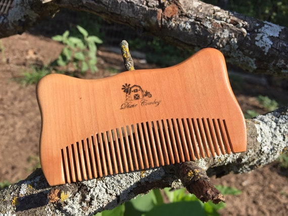 "Handmade TEXAS Reclaimed PEACH WOOD 4"" Styling Dress Pocket Purse Perfect Beard Mustache Hair Comb Men's Women's Dixie Cowboy w30"