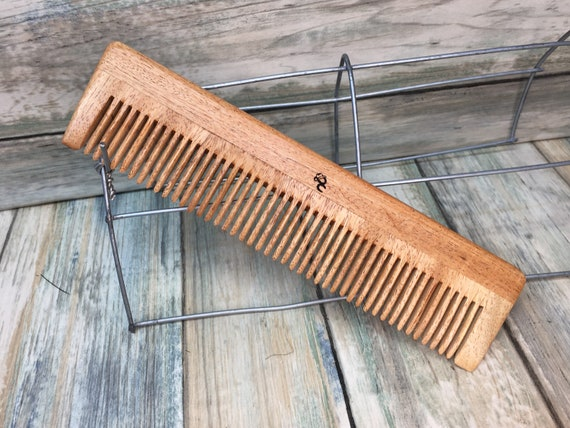 """USA Made NEEM WOOD eco friendly 7.5"""" Fine Medium Barber Styling Dressing Smoothing Pocket Hair 7.5"""" Comb Dixie Cowboy A33"""