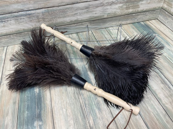 """USA Made Real OSTRICH Feather & Wood Duster dusting brush 13"""" Eco Friendly Dixie Cowboy"""