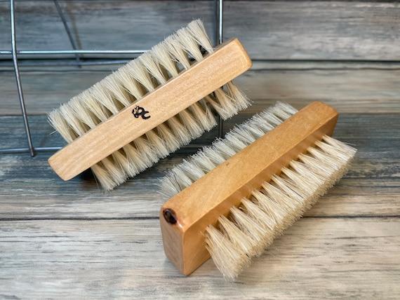 "USA Made BOAR Hair Utility 2 Sided Brush WOOD 4"" Scrub Gardener's Hand Nail Feet foot Vegetable Fingernail Dixie Cowboy"