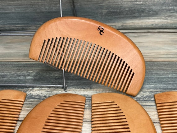 "USA Made 4"" Texas PEACH Wood Curved Hand Comb BEARD Mustache Purse Medium Tooth Pocket Hair Dixie Cowboy U21"