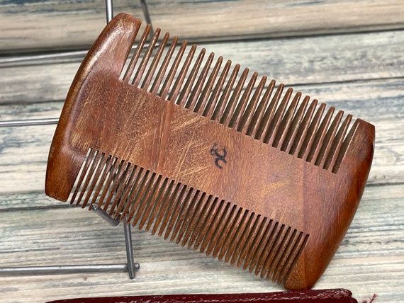 """USA Made 4"""" Black Walnut Wood 2 Sided Comb & Case BEARD Mustache Double Sided Fine and Wide Tooth Pocket Hair Dixie Cowboy A8"""