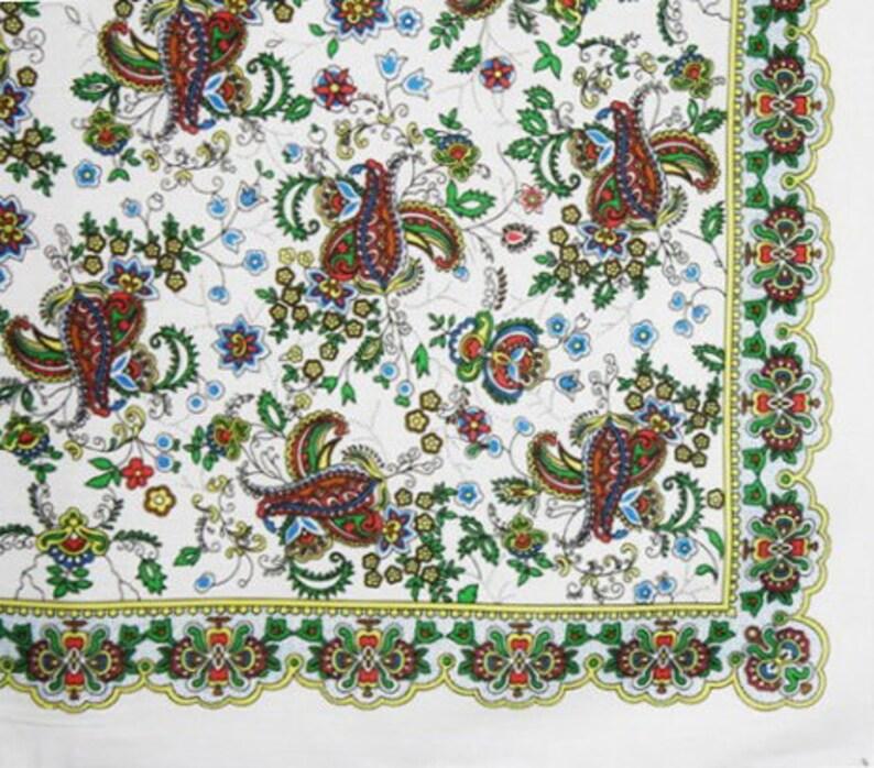 Shawl Bandana Headband Soft Cotton Original Russian Pavlovo Posad Style Print Pattern Turkish Cucumber Indian Cucumber Paisley New Bob