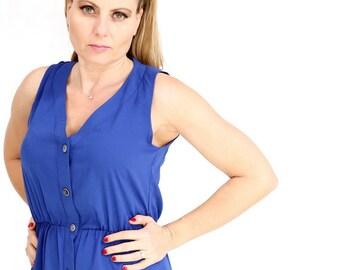 Blue maxi long dress casual summer Dress button Day Dress sleeveless