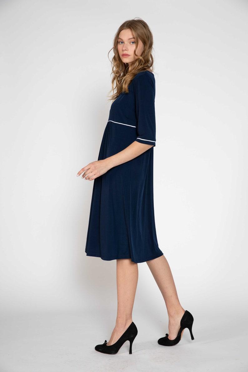 Navy blue maternity dress empire waist Mother Dress Oversized Dress
