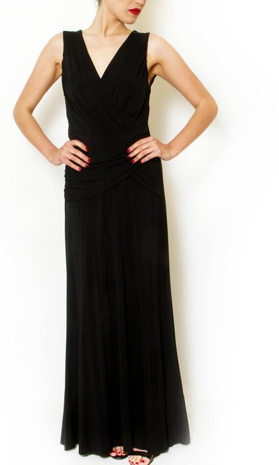 Pleated Black maxi dress Long evening dress Formal cocktail  e435f8b17