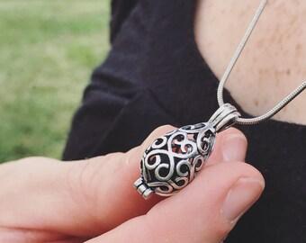 Teardrop Antique Silver Locket Necklace - Essential Oil Diffuser Necklace - Diffuser Locket - Aromatherapy Necklace  - Diffuser Jewelry