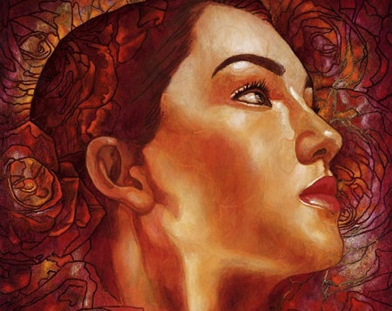 Rosas en mi Pensamiento - Framed Giclee on Canvas