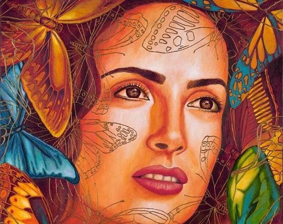 Salma entre Mariposas - Framed Giclee on Canvas