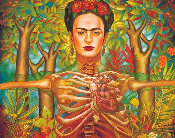 Corazon de Frida - Framed Giclee on Canvas
