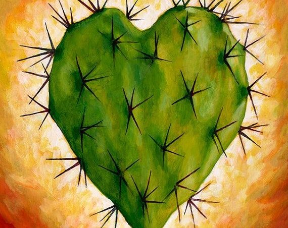 Corazon Nopal - Framed Giclee on Canvas