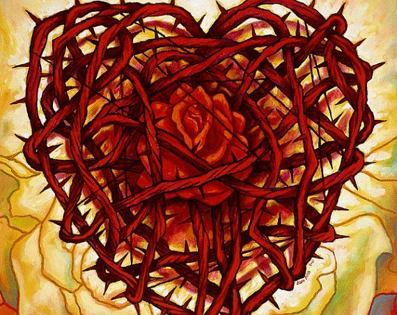 Corazon Espinado con Rosa- Framed Giclee on Canvas