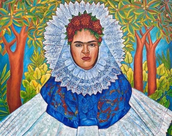 Frida y su Resplandor- Framed Giclee on Canvas