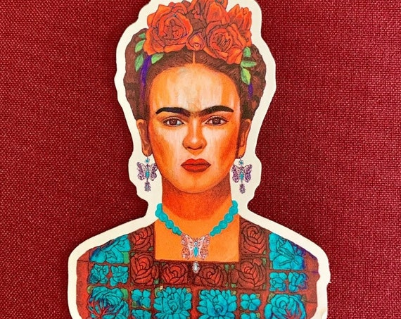"Frida entre Mariposas Sticker (3"" X 4"")"