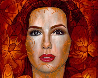Eva entre Magnolias- Framed Giclee on Canvas