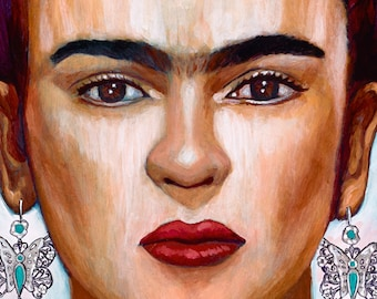Frida y sus  Mariposas (Detail) - Framed Giclee on Canvas