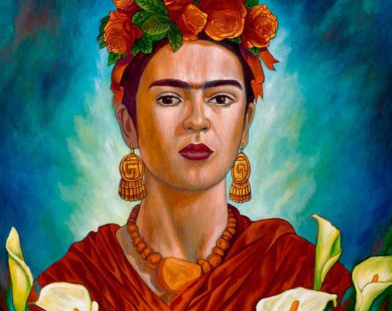 Frida entre Alcatraces II - Framed Giclee on Canvas