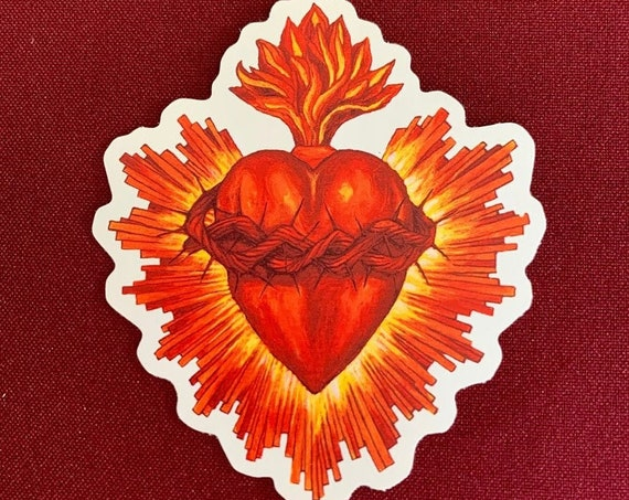 "Corazon Sagrado I Sticker (3.5"" X 4"")"