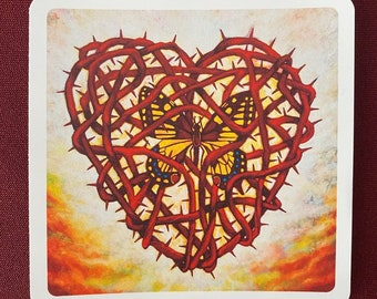 "Corazon Espinado con Mariposa Sticker (4"" X 4"")"