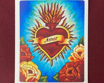 "Corazon Amor Sticker (3.5"" X 4"")"