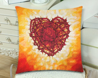 Corazon Espinado con Rosa Pillow