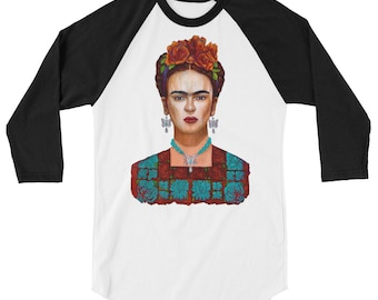 Frida y sus  Mariposas 3/4 sleeve raglan shirt
