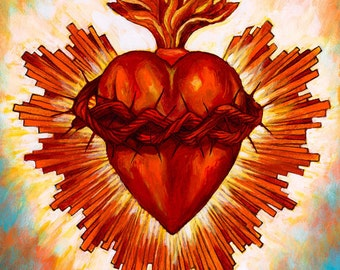 Corazon Sagrado I- Framed Giclee on Canvas
