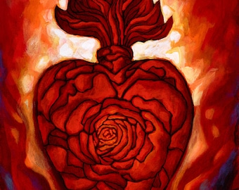 Corazon Sagrado III- Framed Giclee on Canvas
