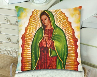 Virgen de Guadalupe (Right Side) Pillow