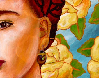 Frida con Flores - Framed Giclee on Canvas