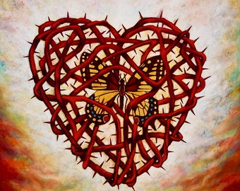 Corazon Espinado con Mariposa - Framed Giclee on Canvas