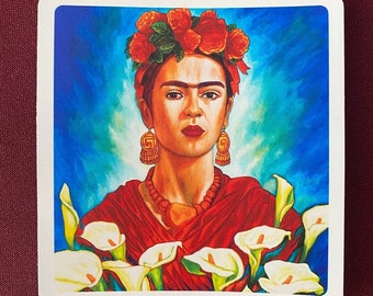 "Frida entre Alcatraces Sticker (4"" X 4"")"