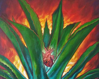 Corazon Mexicano - Framed Giclee on Canvas