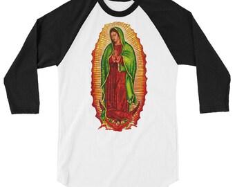 Virgen de Guadalupe 3/4 sleeve raglan shirt