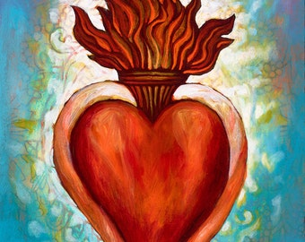 Corazon Sagrado II- Framed Giclee on Canvas