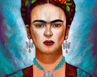 Frida y sus Mariposas - Framed Giclee on Canvas