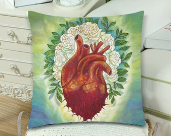 Corazon con Rosas Blancas  Pillow