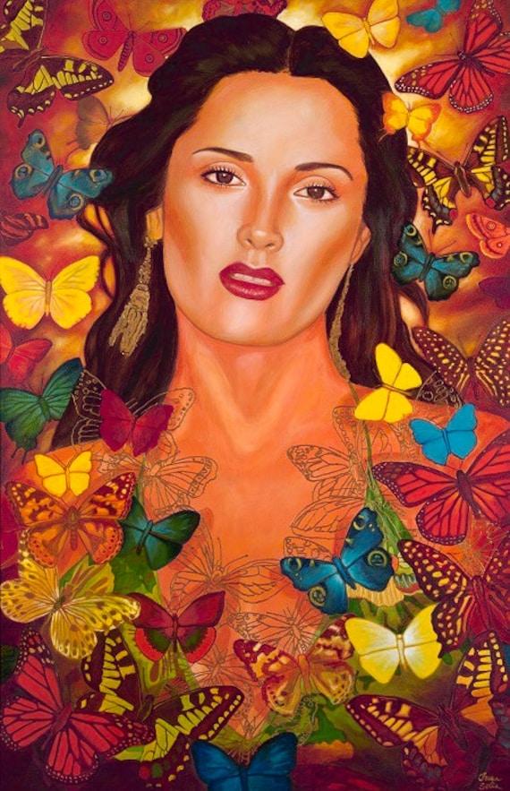 Salma entre Mariposas I - Framed Giclee on Canvas