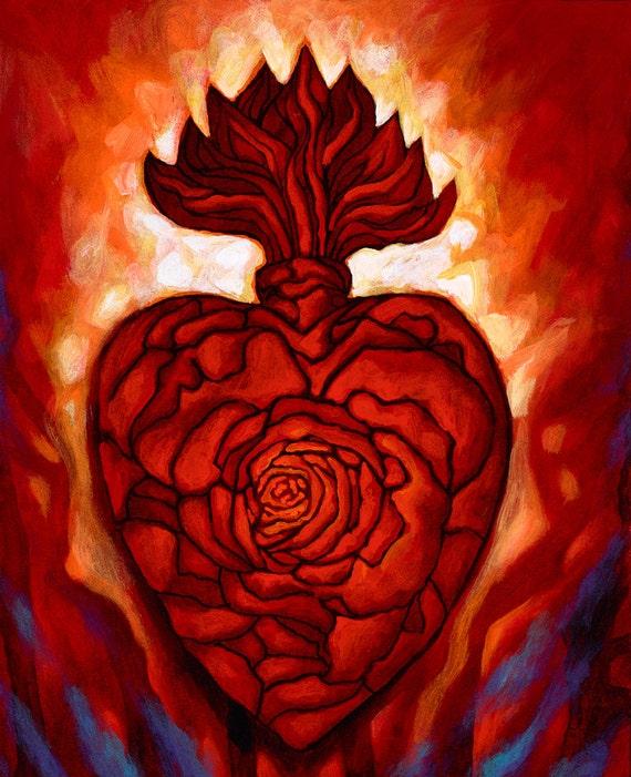 Corazon Sagrado III- Framed Giclee on Canvas