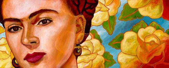 Frida con Flores - Framed Giclee on Canvas