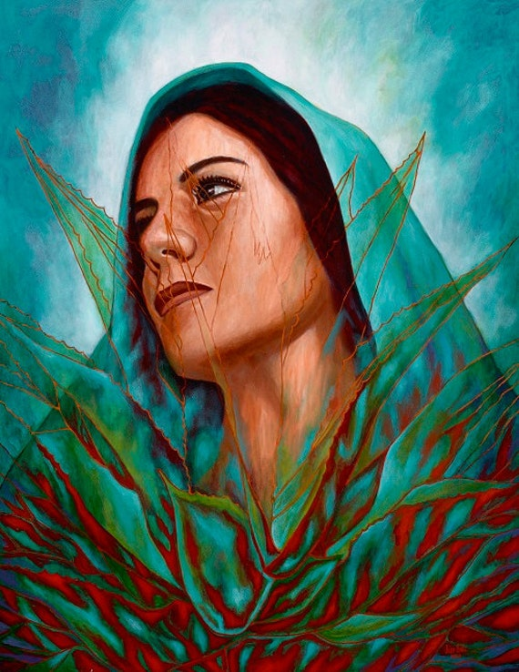Mujer Maguey - Framed Giclee on Canvas