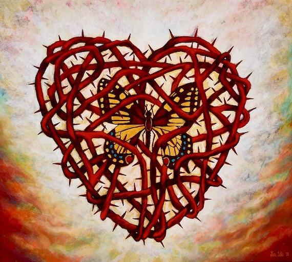 Corazon Espinado con Mariposa - Framed Giclee on Canvas