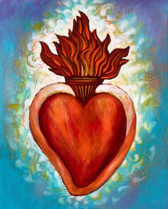 Corazon Sagrado II- Framed Giclee on Canvas