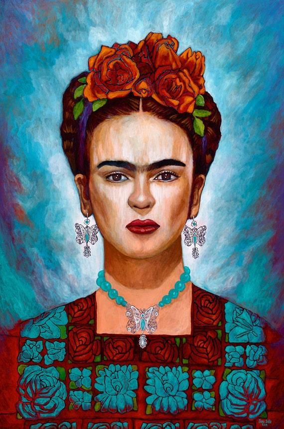 Frida y sus Mariposas - Framed Giclee on Canvas