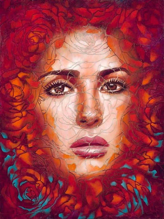 Salma entre Rosas - Framed Giclee on Canvas